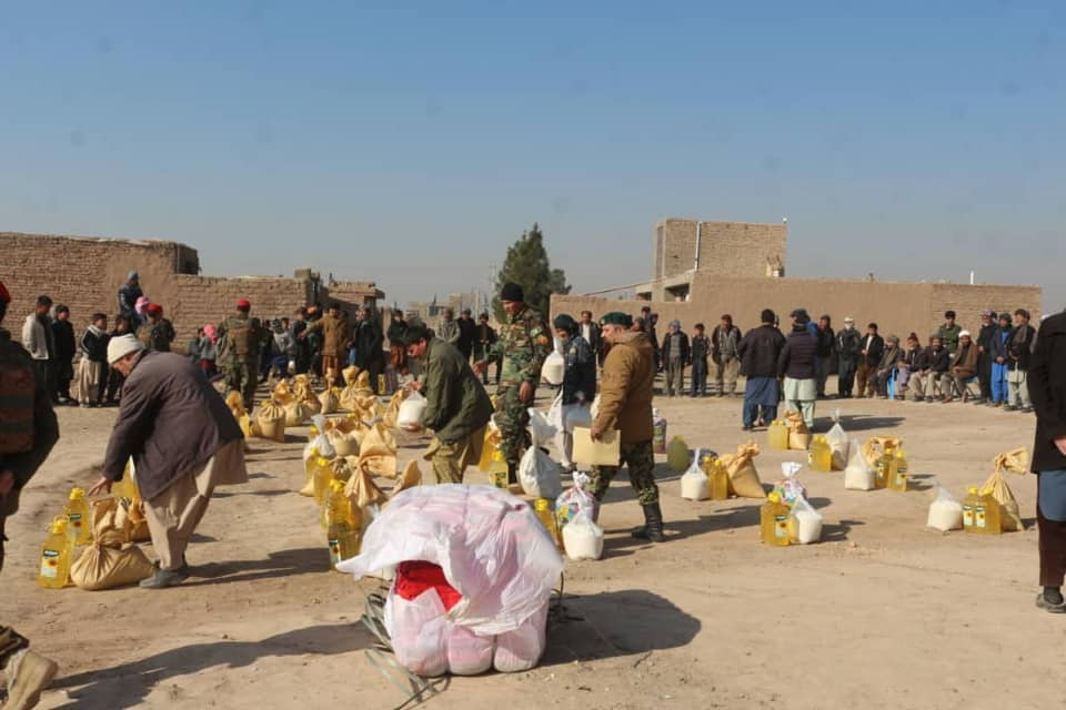 Afghan National Army helped foodstuffs for some needy families in Herat province!